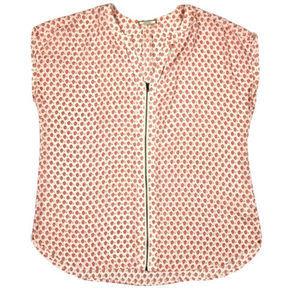 Pleione Cutout Detail Zip Front Shirt Blouse XL